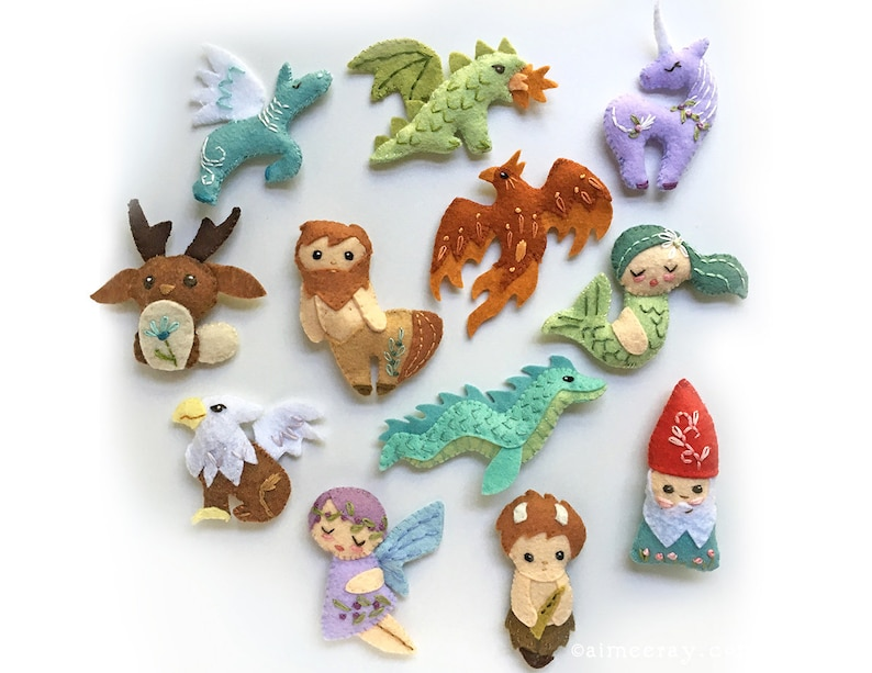 Plush Sewing Patterns for 12 different Mythical Creatures image 0