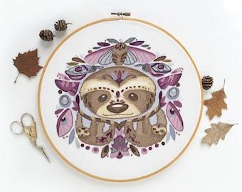 Sloths and Moths Large Modern Hand Embroidery Pattern Sampler, DIY embroidery hoop art design