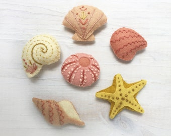 Felt Seashells PDF pattern download, beach decor, Plush Sewing Pattern for sea shell Ornaments, Garlands and more