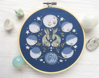 Rabbit Moon Phases Lunar Hand Embroidery Sampler, Beginner level Celestial Decor Hoop Art Design