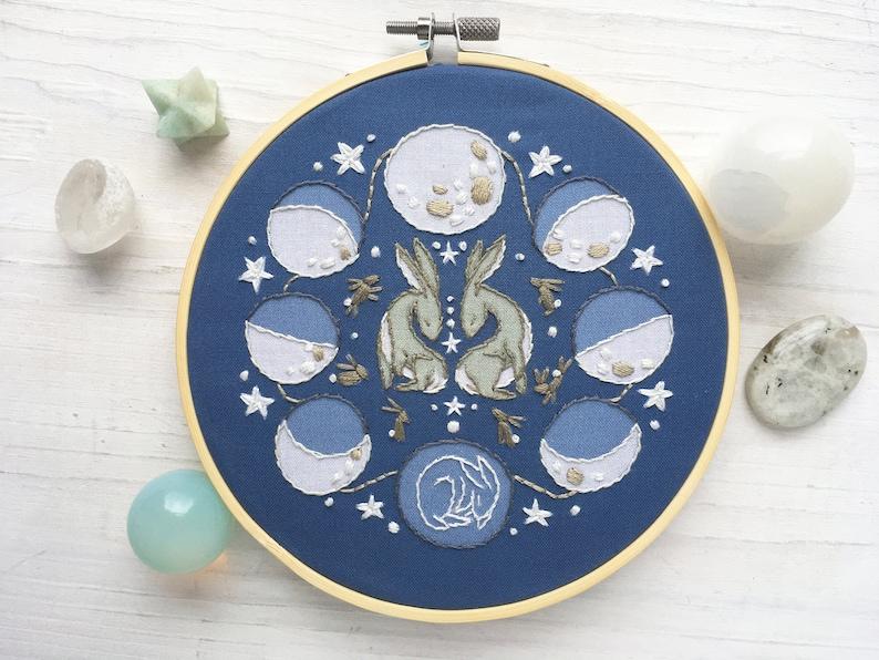 Rabbit Moon Phases Lunar Hand Embroidery Sampler Beginner image 0