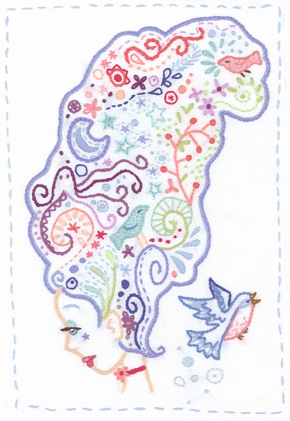 Thinking Hand Embroidery Art Pattern PDF Download, Modern Embroidery Designs