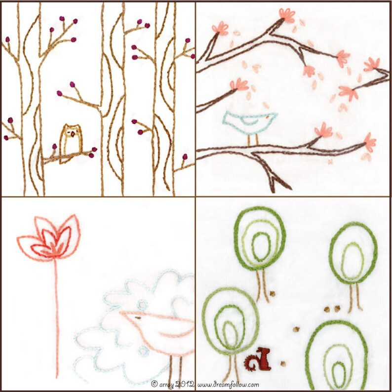 Set of 4 Bird and Tree series 2 Hand Embroidery Patterns PDF image 0