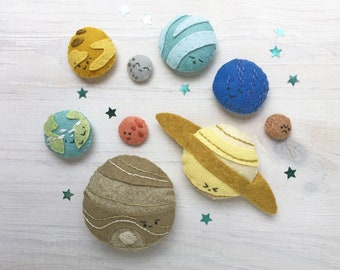 Felt Planets PDF pattern download, SVG file, Plush Sewing Pattern for outer space solar system