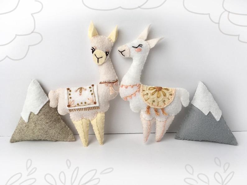 Llama Plush Felt Animals Sewing pattern for felt ornaments or image 0