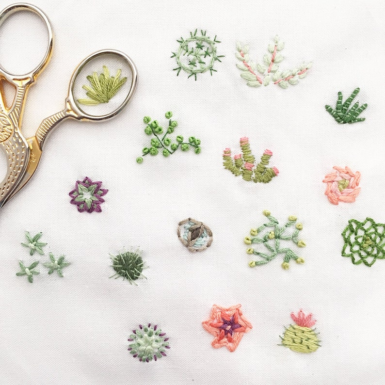Tiny Succulents Hand Embroidery Pattern PDF Download image 0