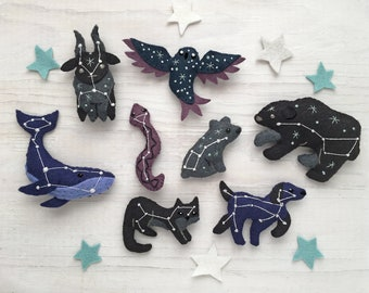 All 8 Constellation Animals Sewing Pattern PDF download, Celestial decor plush, SVG file, Cosmic Owl, Whale, Big Bear, Little Bear