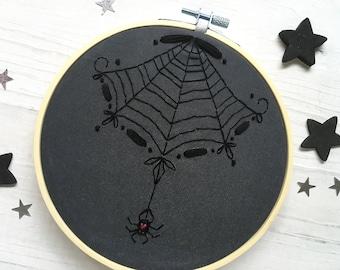Black Spider Web Hand Embroidery Sampler, Halloween DIY Decor Hoop Art Design spiderweb
