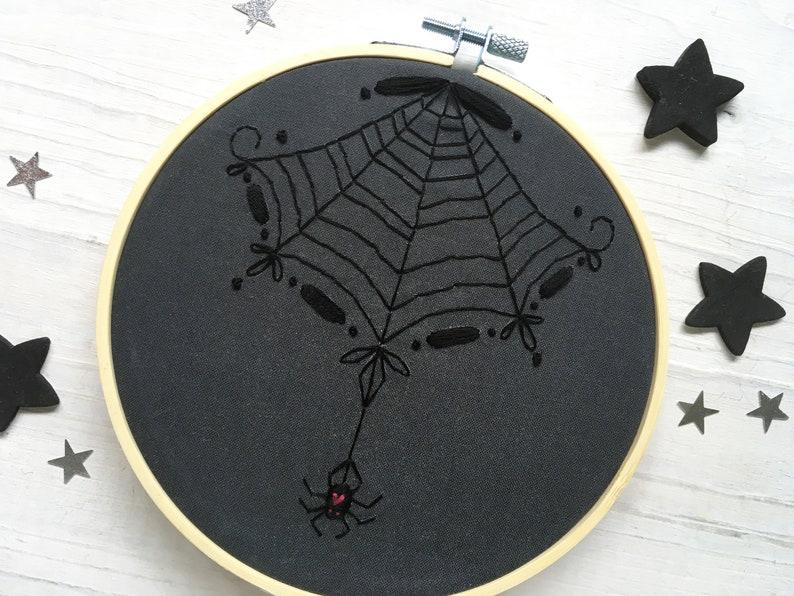 Black Spider Web Hand Embroidery Sampler Halloween DIY Decor image 0