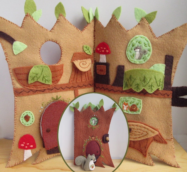 Treehouse Quiet Book PDF Download Plush Sewing Pattern image 0