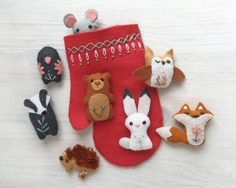 Mitten Felt Animals Sewing Pattern, Plush PDF Download, Christmas SVG file for Wool Felt Holiday Ornaments