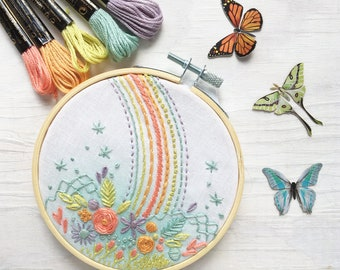 Rainbow Flower Hand Embroidery 4 inch printed fabric Stitch Sampler, perfect for beginners, learn 15 basic stitches