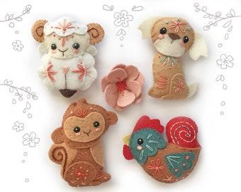Felt Animals Plush Pattern, Chinese New Year, Plush Sewing Pattern SET 1 PDF, Felt Ornaments, Chinese Zodiac, Finger Puppets, Baby Mobile