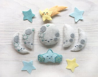 Moons and Stars Plush Sewing Pattern PDF download, SVG file, celestial nursery, moon phases, shooting star