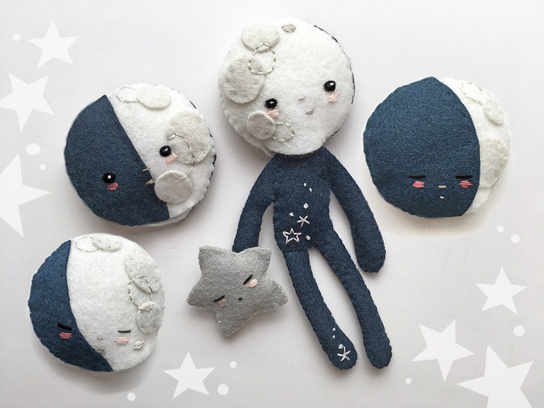 Celestial Plush Sewing Pattern for Felt Doll Moon Child and image 0