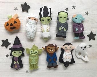 Movie Monsters Halloween DIY Plush Sewing Pattern PDF download, SVG file, Frankenstein, Vampire, Werewolf, Zombie