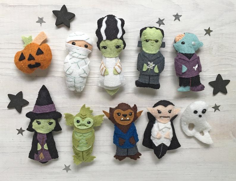 Movie Monsters Halloween DIY Plush Sewing Pattern PDF image 0