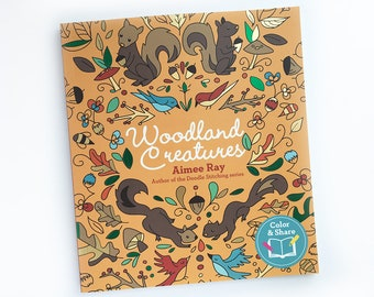 Adult Coloring Book, Woodland Creatures, Woodland Animals, Meditative Coloring Book for Adults, Adult Coloring Pages, Mommy and Me