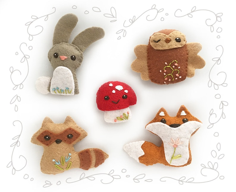 Woodland Creatures Set 1 Felt Plush Animals Sewing Pattern PDF image 0
