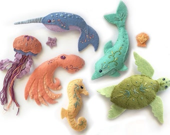 Plush Sewing pattern for 6 different Sea Creatures Felt Animals, PDF, SVG Download, Octopus, Narwhal, Dolphin, Felt Ornaments