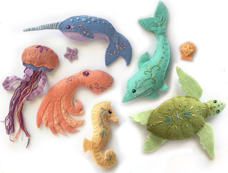 Plush Sewing pattern for 6 different Sea Creatures Felt image 0