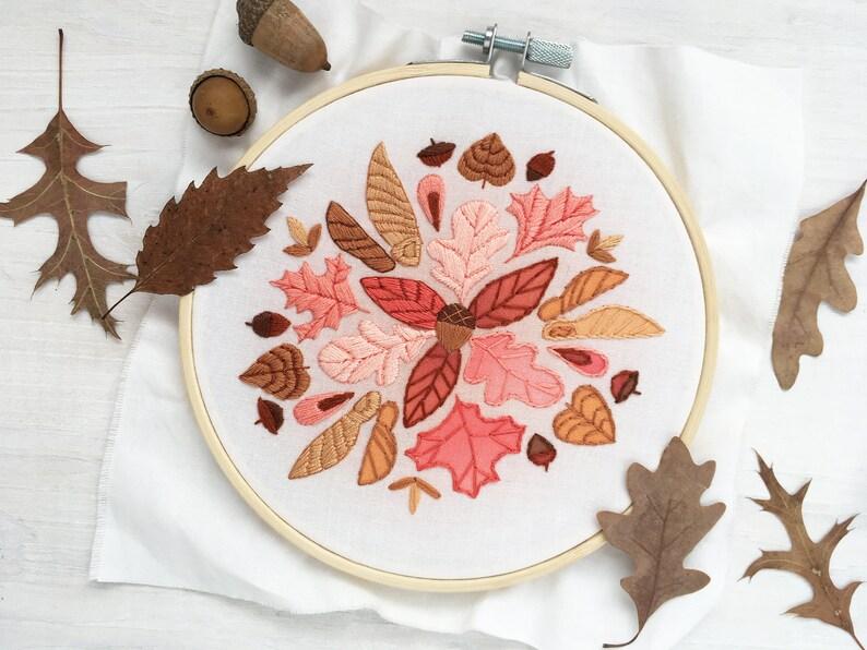 Autumn Leaves Mandala Hand Embroidery Sampler Beginner level image 0