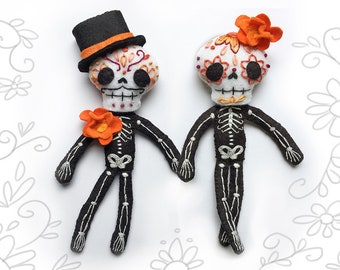 Day of the Dead Plush Sewing Pattern for Felt Calaveras Skeleton dolls, Sugar Skull, Dia de los Muertos, soft toy PDF Download, SVG included