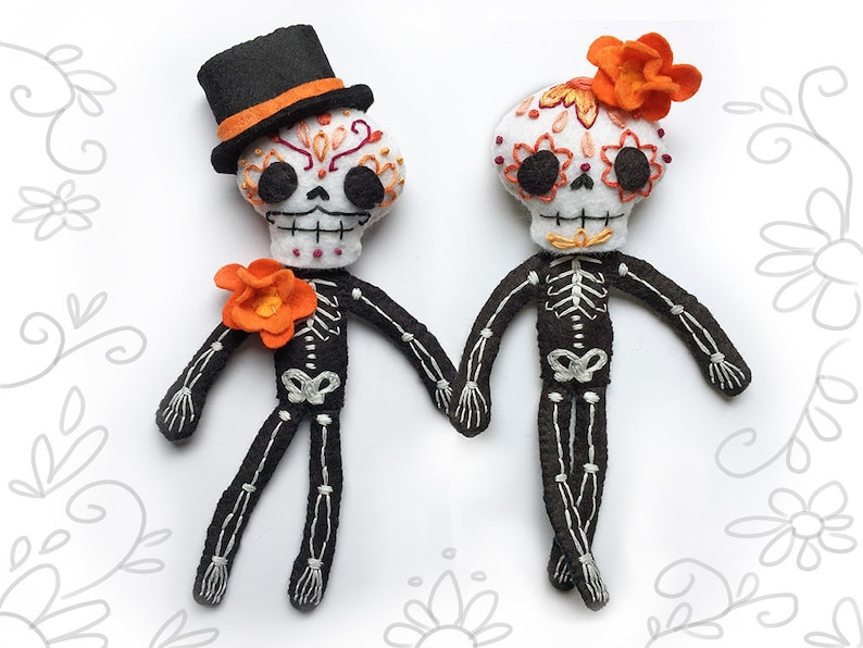 Day of the Dead Plush Sewing Pattern for Felt Calaveras image 0