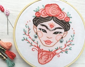 Frida's Heart Hand Embroidery Sampler, Beginner level Modern Hoop Art Design