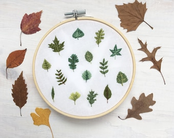 Tiny Leaves Hand Embroidery Pattern PDF Download, Embroidery Hoop Art, leaf design, nature lover