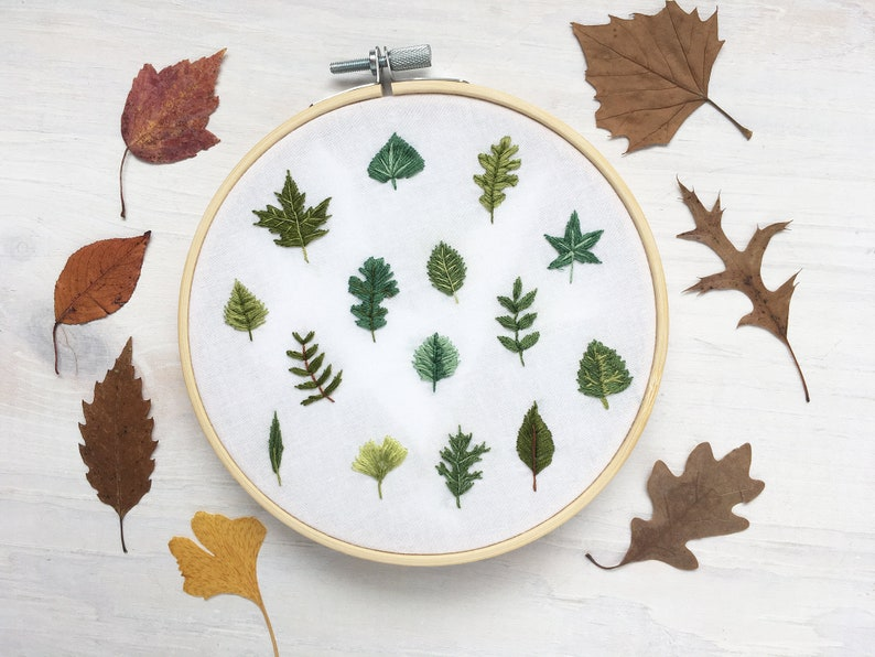 Tiny Leaves Hand Embroidery Pattern PDF Download Embroidery image 0