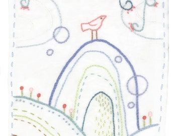 Hand Embroidery Pattern, Bird Hill, PDF Download, Modern Embroidery Art, Embroidery Designs, Floral Embroidery, Rainbow