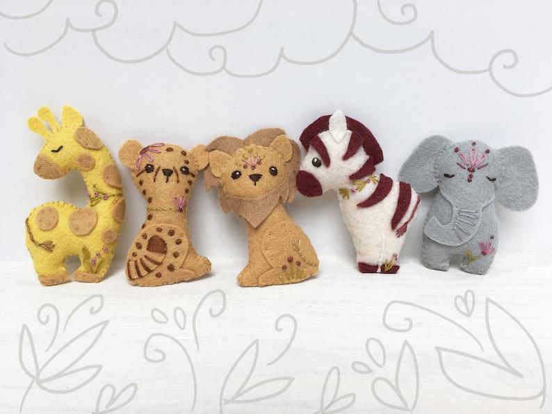 Safari Felt Animals Plush Sewing Pattern digital download SVG image 0