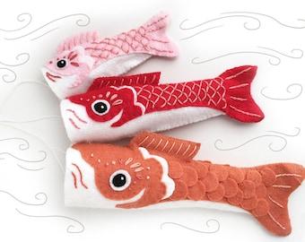 Felt Animals Sewing Pattern, Koinobori Fish Flag Plush Pattern, Party Decorations, Felt Ornament, Japanese, Felt Animals, Childrens Day