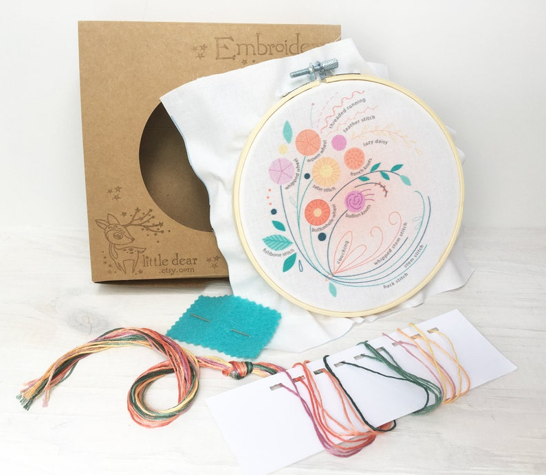 Hand Embroidery Kit Floral Bouquet Beginner Embroidery image 0