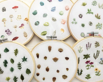 6 mini Collections embroidery patterns, Tiny Mushrooms, Succulents, Acorns, Crystals, Herbs and Leaves Patterns, Embroidery Hoop Art designs