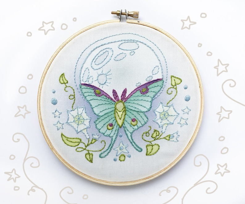 Hand Embroidery Sampler Luna Moth Butterfly Moon DIY image 0