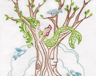 Hand Embroidery Pattern, Mermaid Tree PDF Download, Mermaid Decor, Embroidery Art, Embroidery Designs, Nautical, Woodland Decor, Book Lover