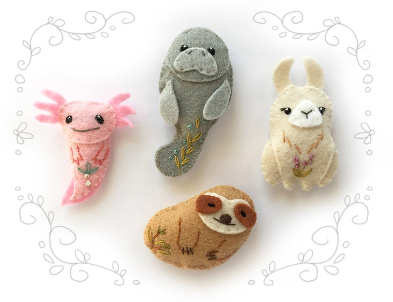 Felt Animals PDF Pattern for Unusual Creatures Digital image 0