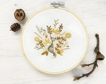 Harvest cat fox Beginner Hand Embroidery color Sampler with printed fabric, Modern Embroidery Hoop Art