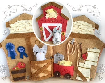 Little Red Barn Quiet Book PDF Sewing Pattern with Felt Animals, PDF Download to sew your own soft toy
