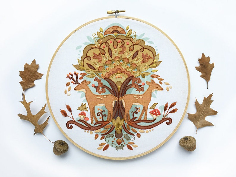 Autumn Love Hand Embroidery Pattern Large color printed image 0