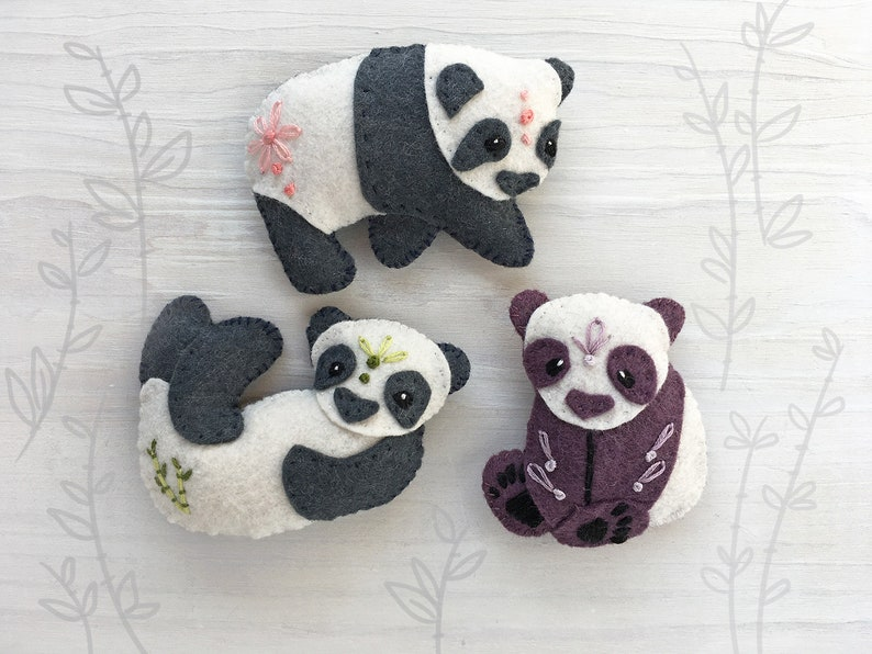 3 Panda Bears Mini Plush Felt Animals Sewing pattern felt image 0