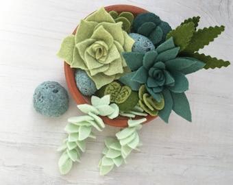 Felt Succulents Cactus Sewing Pattern PDF download, felt plants, garland, bouquet