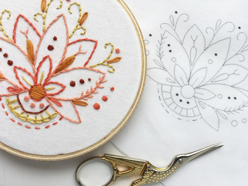 Learn to embroider with this Mini Lotus Flower Hand Embroidery image 0