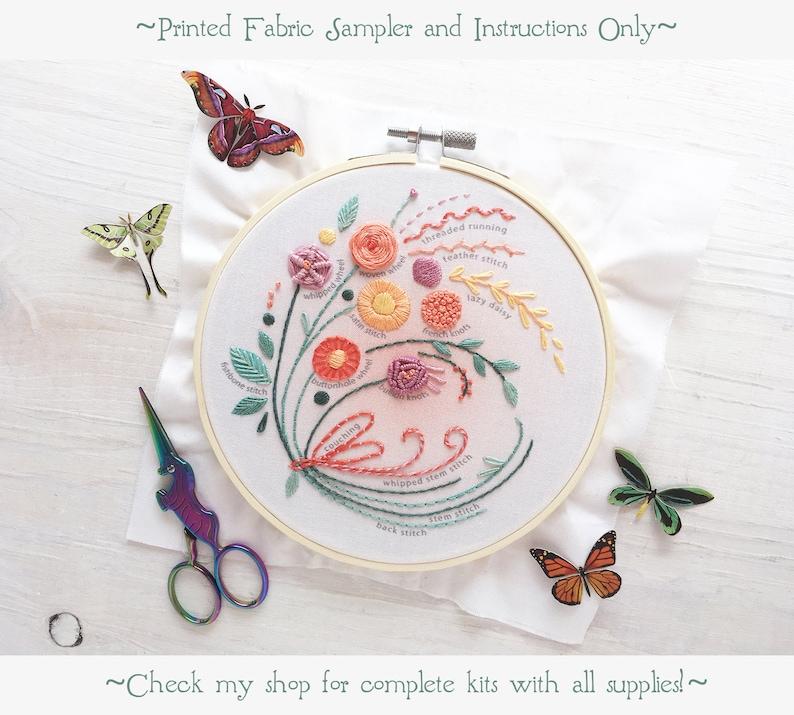Floral Bouquet Stitch Sampler Beginner Embroidery design image 0