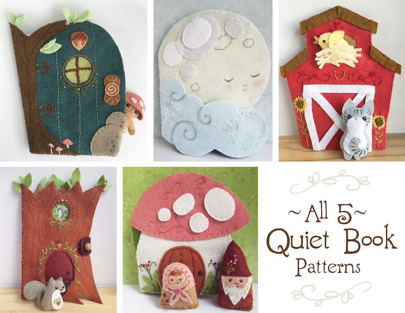 5 Felt Quiet Book PDF Sewing Patterns with Felt Animals and image 0