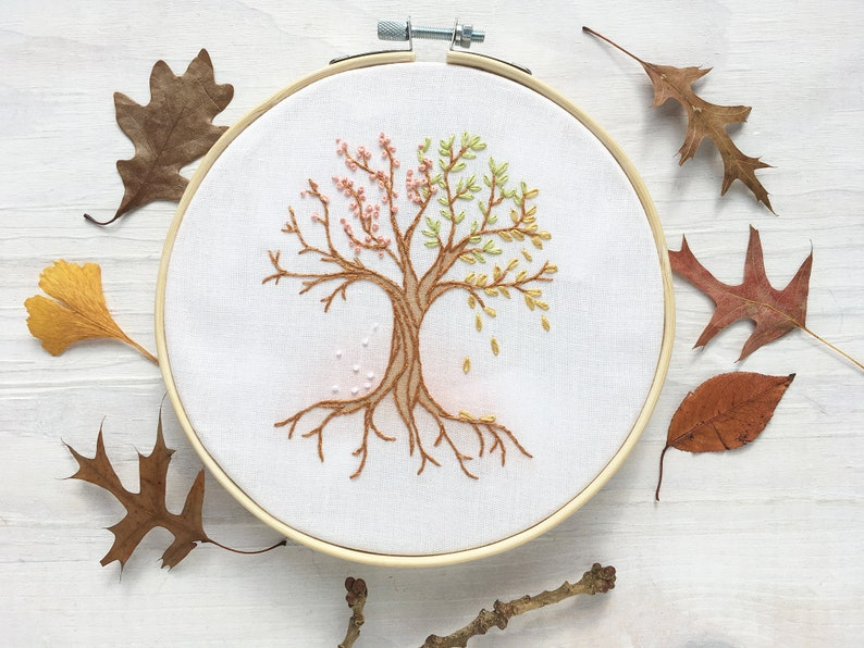 4 Seasons Tree Beginner Hand Embroidery color Sampler with image 0