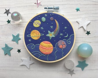 Planets and Stars Hand Embroidery 4 inch printed fabric Stitch Sampler, cosmic rainbow solar system, perfect for beginners