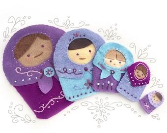 Plush Sewing Pattern for Matryoshka Nesting Dolls, Plush Pattern PDF Download, Finger Puppets, Felt Doll, Russian Doll